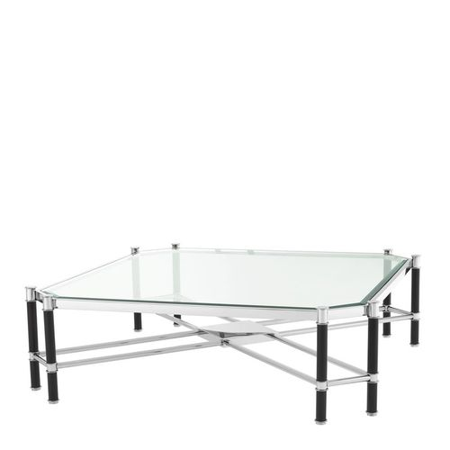 Eichholtz Coffee Table Florence * Polished stainless steel | black finish | clear glass