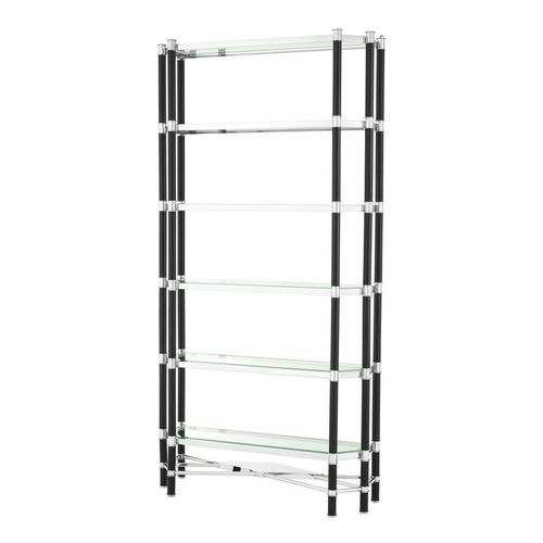 Eichholtz Cabinet Florence * Polished stainless steel | black finish | clear glass