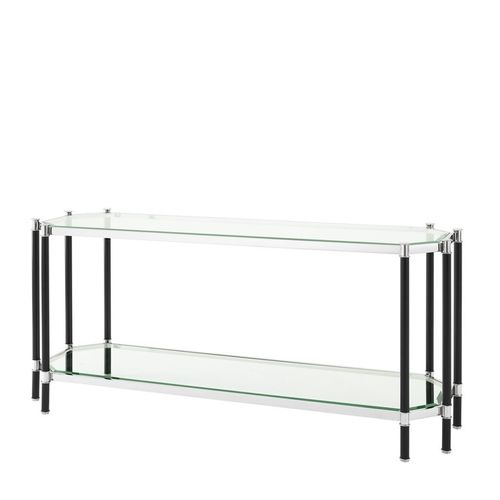 Eichholtz Console Table Florence * Polished stainless steel | black finish | clear glass