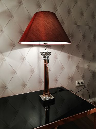 Hazenkamp * Table Lamp 16x16x67cm + Lampenschirm 50 cm rot * SHOWROOM Bad Ems
