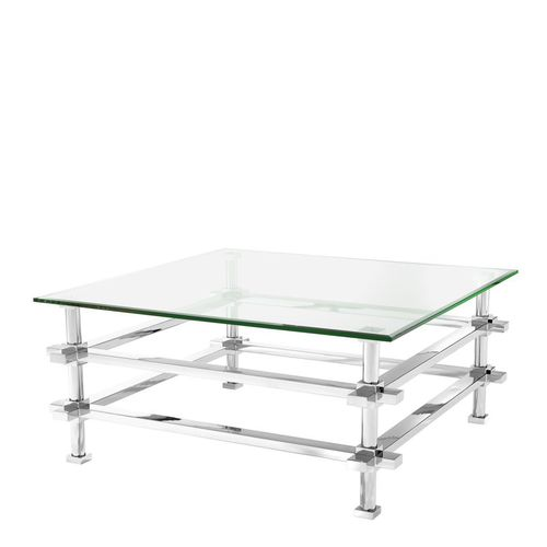 EICHHOLTZ Coffee Table Madagascar * Polished stainless steel | clear glass