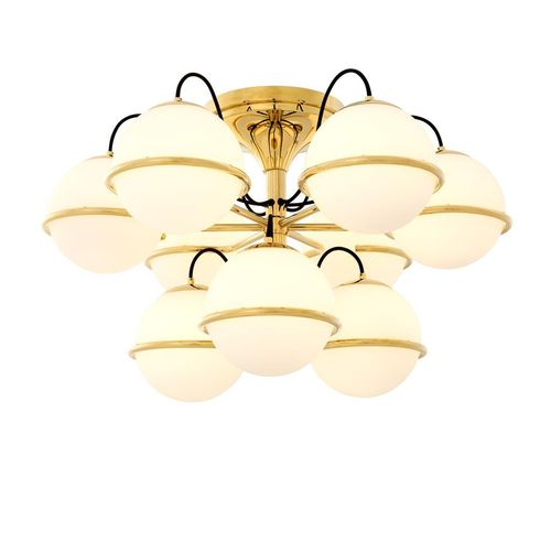 EICHHOLTZ Ceiling Lamp Nerano * Gold finish | white glass