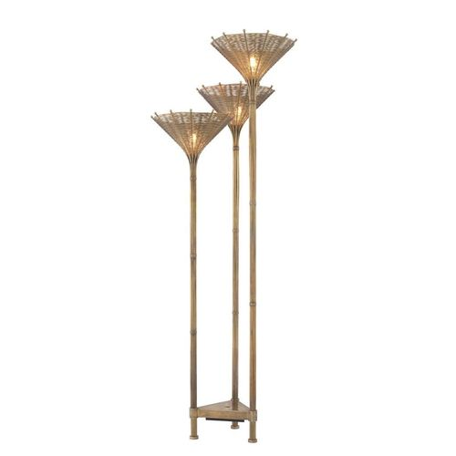 EICHHOLTZ Floor Lamp Kon Tiki Triple * Vintage brass finish