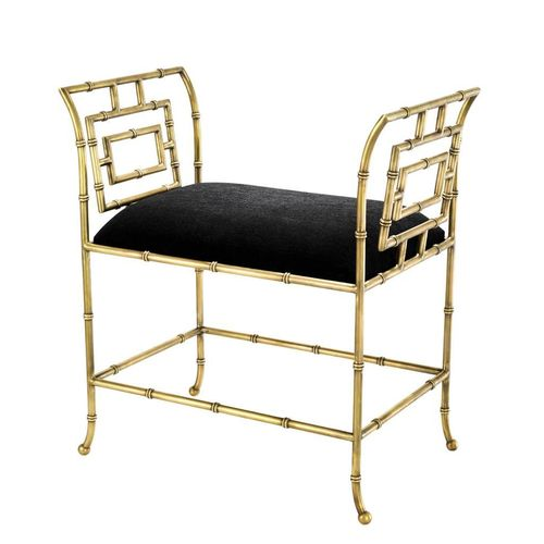 EICHHOLTZ Bench Bonita * Vintage brass finish | black velvet