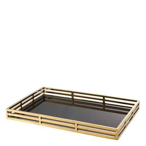 EICHHOLTZ Tray Giacomo * Gold finish | black glass