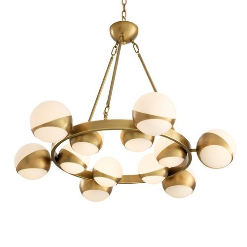 EICHHOLTZ Chandelier Piazetta * Antique brass finish | white glass