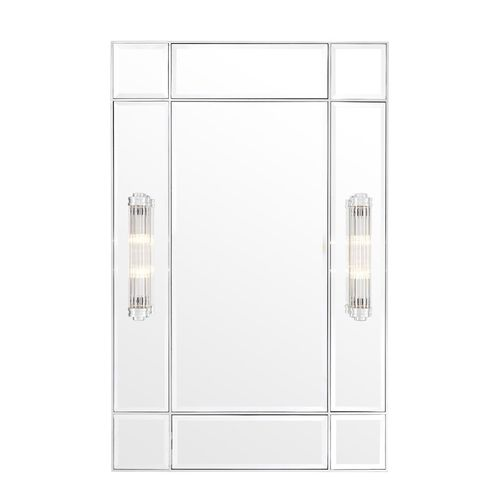 EICHHOLTZ Mirror Beaumont with light * Nickel finish | bevelled mirror glass