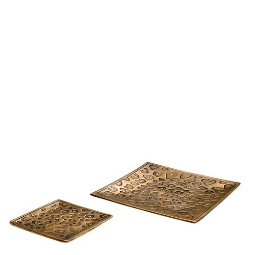 EICHHOLTZ Tray Jaguar set of 2 * Vintage brass finish