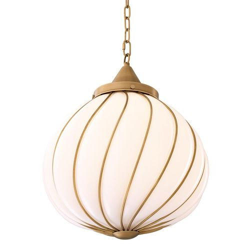 EICHHOLTZ Chandelier Romano * Antique brass finish | white glass
