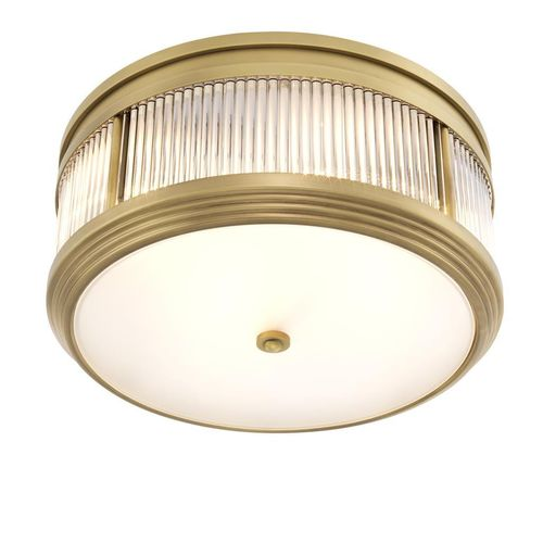 EICHHOLTZ Ceiling Lamp Rousseau * Antique brass finish | clear glass | frosted glass