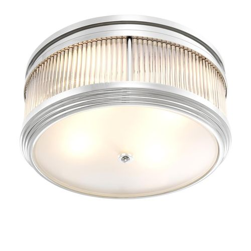 EICHHOLTZ Ceiling Lamp Rousseau * Nickel finish | clear glass | frosted glass