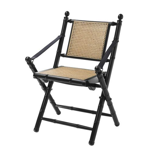 EICHHOLTZ Folding Chair Bolsena * Black finish | natural cane