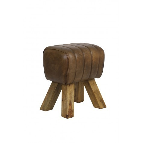 Light & Living Stool 42x35x46 cm RAMY leder dunkel braun