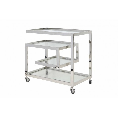 Light & Living Bar trolley 81x46x77 cm TUNCAY klar Glas+nickel