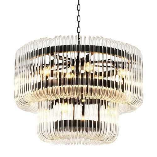 EICHHOLTZ Chandelier Sutton House * Bronze finish | clear glass