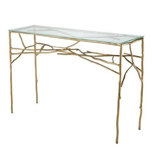 EICHHOLTZ Console Table Antico * Gold finish | clear glass