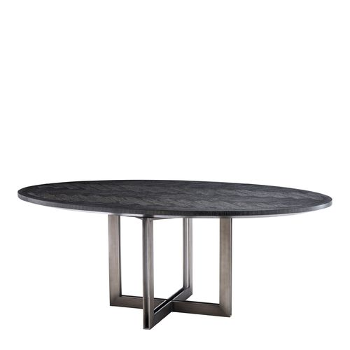 EICHHOLTZ Dining Table Melchior oval * Charcoal oak veneer | bronze finish