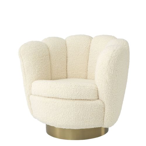 EICHHOLTZ Swivel Chair Mirage * Faux shearling | brushed brass finish swivel base