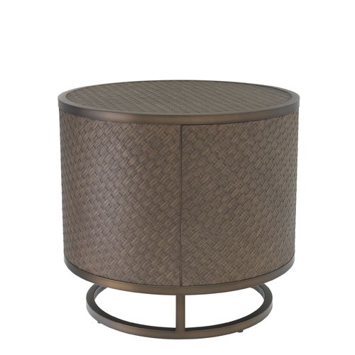EICHHOLTZ Side Table Napa Valley * Woven oak veneer | bronze finish