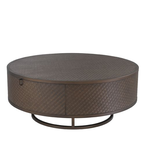EICHHOLTZ Coffee Table Napa Valley * Woven oak veneer | bronze finish