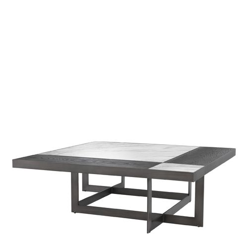 EICHHOLTZ Coffee Table Hermoza * Bianco lilac marble | mocha oak veneer