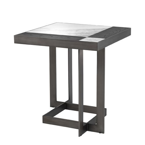 EICHHOLTZ Side Table Hermoza * Bianco lilac marble | mocha oak veneer