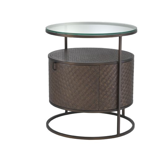 EICHHOLTZ Bed Side Table Napa Valley * Woven oak veneer | bronze finish | clear glass