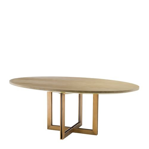 EICHHOLTZ Dining Table Melchior oval * Washed oak veneer | brushed brass finish