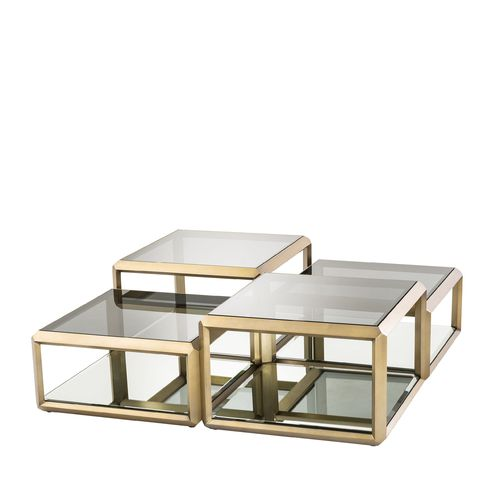 EICHHOLTZ Coffee Table Callum * Brushed brass finish | smoke glass | mirror glass
