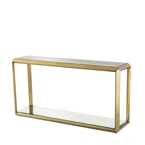 EICHHOLTZ Console Table Callum * Brushed brass finish | smoke glass | mirror glass
