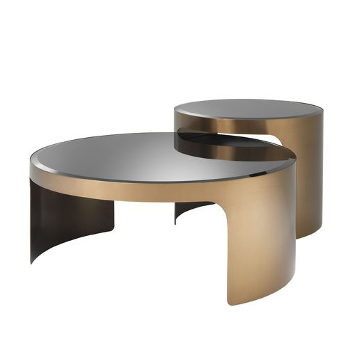 EICHHOLTZ Coffee Table Piemonte set of 2 * Brushed copper finish | black glass