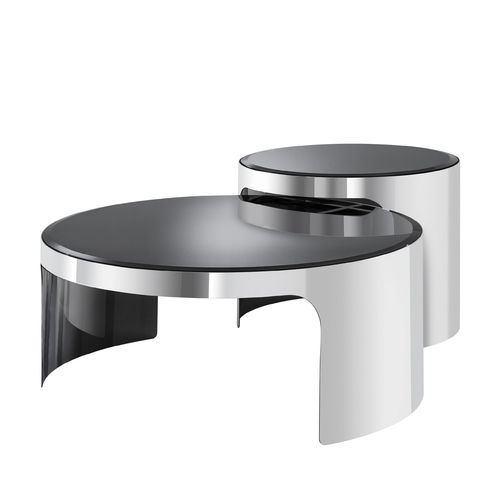 EICHHOLTZ Coffee Table Piemonte set of 2 * Polished stainless steel | black glass