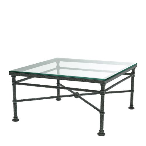 EICHHOLTZ Coffee Table Biënnale Square * Weathered finish | clear glass