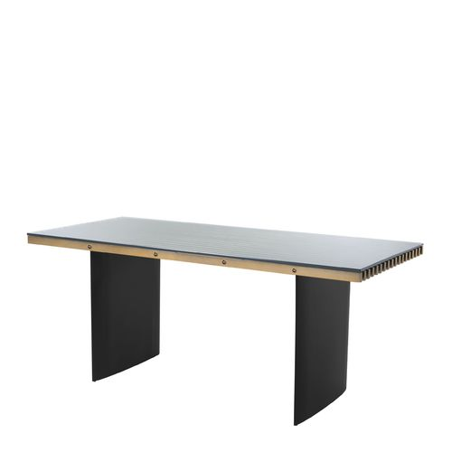 EICHHOLTZ Desk Vauclair * Brushed brass finish | black finish | clear glass