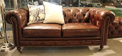 Migani ITALY LEATHER CHESTER 3 SEATS SOFA (BLACK)