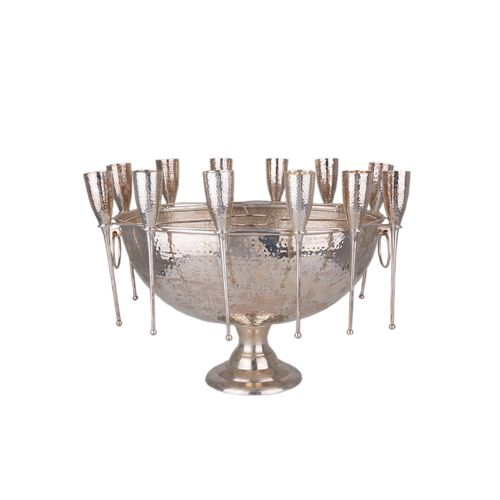 Migani ITALY CHAMPAGNE BOWL W/12 GOBLETS HAMMERED STYLE
