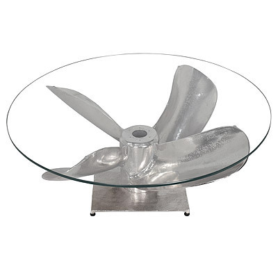 Hazenkamp Table Propeller 89x65x33cm w/ 10 mm glass - Airplane Furniture