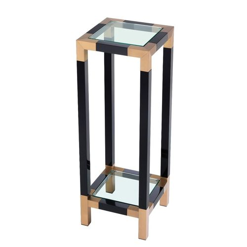 EICHHOLTZ Column Royalton * Piano black finish | brushed brass finish | clear glass