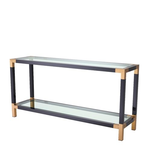 EICHHOLTZ Console Table Royalton * Piano black finish | brushed brass finish | clear glass