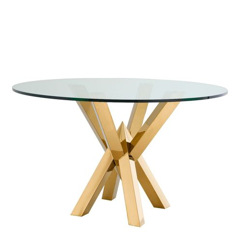 EICHHOLTZ Dining Table Triumph * Gold finish | clear glass