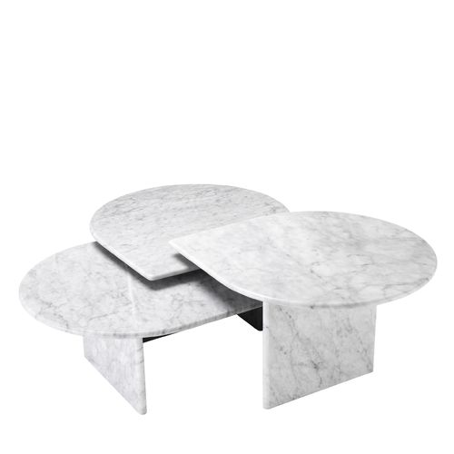 EICHHOLTZ Coffee Table Naples set of 3 * solid Carrera marble