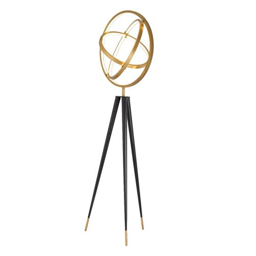 EICHHOLTZ Floor Lamp Cassini * Antique brass finish | black finish
