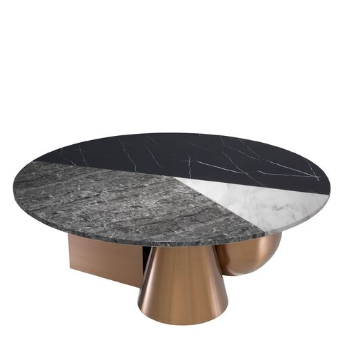 EICHHOLTZ Coffee Table Tricolori * Faux marble top | brushed copper finish