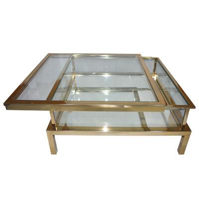 Hazenkamp Coffee Table with Clear Glass 100x100x40cm Tischplatte verschiebbar