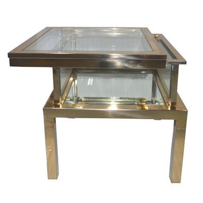 Hazenkamp Side Table with Clear Glass Mirror at Bottom 55x55x55cm Tischplatte verschiebbar