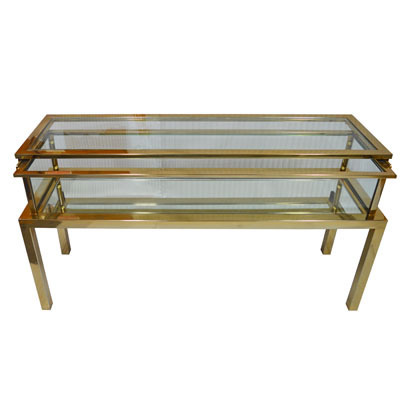 Hazenkamp Wall Table with Clear Glass mirror at Bottom 139x40x72cm Tischplatte verschiebbar