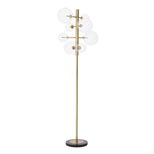 EICHHOLTZ Floor Lamp Argento * Antique brass finish | clear glass | black marble base