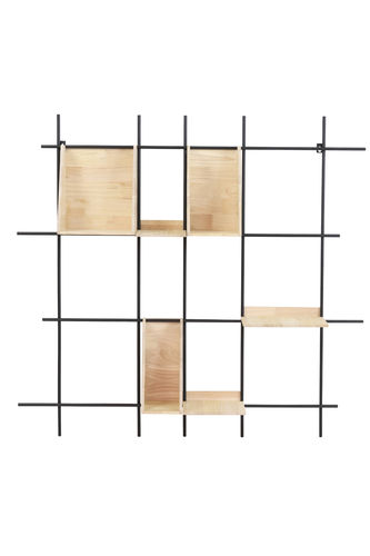 Light & Living 6763184 - Wandregal 105x21x105 cm MAISEY schwarz+Holz naturell