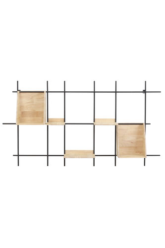 Light & Living 6763284 - Wandregal 140x21x75 cm MAISEY schwarz+Holz naturell