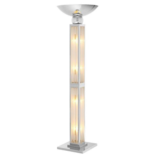 EICHHOLTZ Floor Lamp Dorrell - UL * Nickel finish | clear glass | frosted glass